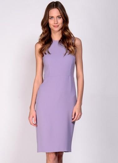 House Of Camellia Fermuarlı Kalem Elbise Lila